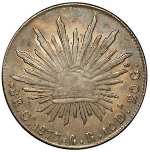 1877-Ca GR Mexico 8 Reales Silver Coin - KM# 377.2 - NICE QUALITY