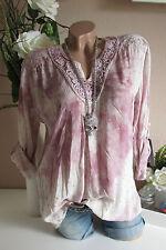 blusa camisa túnica de encaje ganchillo ESTRELLAS STARS Batik Vintage Rosa 36 38