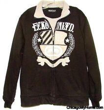 Ecko Unltd Mens Black Sherpa Lined Pocket Embroidered Zipper Jacket Coat Medium