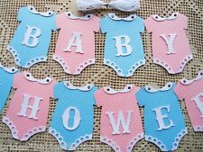 10 Bunting Flags Banners Garland Baby Shower Pink Blue Unisex DIY