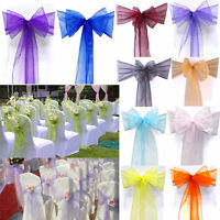 10/25/50/100 Organza Chair Cover Wide Bow-knot Ribbon Sash Wedding Party Decors