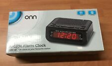 Onn Bedside Alarm Clock Radio AM & FM Snooze Sleep - Large Red LED - Black