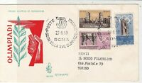 Italy 1959 Olympic games Hand+Leaf Cat Slogan Cancel  FDC Stamps Cover ref 22388