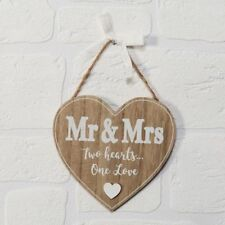 Mr and Mrs Heart Hanging Wooden Plaque Sign