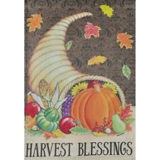 """Harvest Blessings"" Cornucopia Horn, Pumpkins Sm Flip It Garden Flag 12.5"" x 18"""