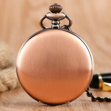 Classic Smooth Red Copper Men Women Quartz Pocket Watch Pendant 30cm Chain Gift