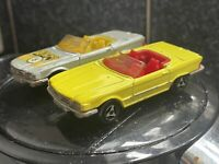 2 Vintage Majorette No. 213  Mercedes 350SL -yellow And Silver Very Good Cond