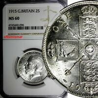 GREAT BRITAIN George V (1910-1936) Silver 1915 1 FLORIN NGC MS60 SCARCE KM# 817