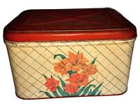 "Vintage Rustic Farm House Floral Tin Bread Box 13"" Wide 8"" High"