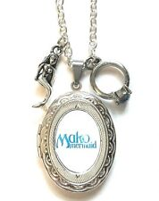 Mako mermaid H2o just add water style locket necklace.Mako ring & mermaid charm