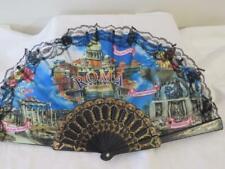 "Vintage Roma Italian Fabric Hand Fan Black 16"" spread 9"" high"