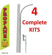 4 (four) PROPANE SOLD HERE 15' SWOOPER #3 FEATHER FLAGS KIT with poles+spikes