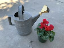 Vintage 11.5� Galvanized Metal Watering Can w Yellow Sprinklerer Spout Garden