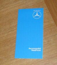 Mercedes Price Guide 1979-1980 W116 450 SEL 6.9 W123 Estate CE Coupe R107 450 SL
