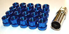 NNR Type M Steel Wheel Lug Nuts & Locks Open Ended Blue 22mm 12x1.5 20pcs