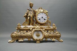 Alte französische Kaminuhr golden 40 cm  Figurenuhr Pendule defekt