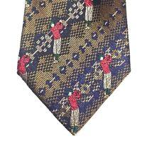 Polo Ralph Lauren Silk Necktie Golfer Made by Hand in USA 58 x 4 in. Golf Theme