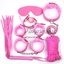 7pcs Pink Bed Restraint Kit Ball Gag Cuffs Whip Collar Set Fetish Couple Fun Toy