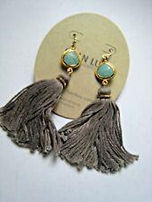Chan Luu Earrings Amazonite Stone Gold Vermeil Bezel & Hooks w Long Tassels NWT