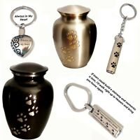 Memorial Engravable Pet Urn Dog/Cat Pewter, Charcoal Grey or separate Keyring