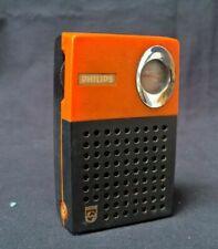 Radio Phillips 90RL023 1973 vintage ancienne radio portable à pile noir orange