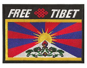 Patche écusson FREE TIBET libre drapeau medium patch tibétain brodé  transfert