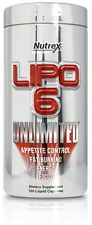 Nutrex LIPO 6 UNLIMITED Fat Burner Weight Loss Appetite Control Energy, 120 caps