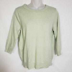 J Crew Tippi Sweater Medium Merino Wool  Mint Green Crew Neck 3/4 Sleeve 46725