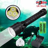 10000Lm 3 T6 XML LED Scuba Diving Flashlight Torch Light Lamp Underwater To 100m