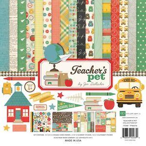 """Echo Park Collection Kit 12""""X12"""" Scrapbook Paper - Teacher's Pet - School Theme"""