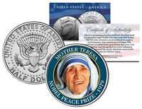 MOTHER TERESA * 1979 NOBEL PEACE PRIZE * Colorized JFK Half Dollar U.S. Coin