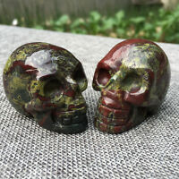 1pc natural dragon blood jasper Quartz Crystal Skull hand carved Healing 100g+
