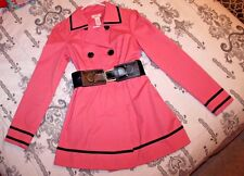 """Candies"" Pink & Black Trench Coat Womens SMALL, Large Buttons & Belt"