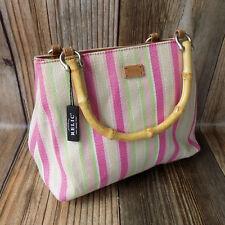 Relic Handbag Purse Bamboo Handles Pink Lime Stripe Detachable Crossbody Strap