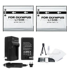 LI-50B Battery x2 + Charger for Olympus SP-720UZ SP-800UZ SP-810UZ