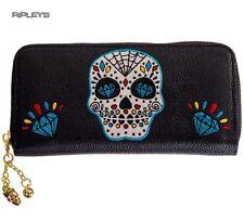 Banned Clothing Nero Wallet Purse TICKET TO RIDE Teschio Blu Goth