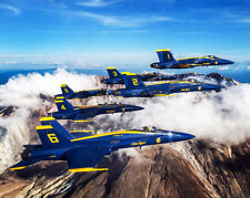 US NAVY BLUE ANGELS OVER MOUNT ST HELENS 8x10 SILVER HALIDE PHOTO PRINT