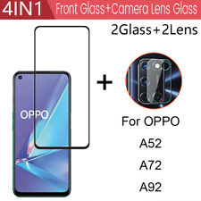 4in1 For OPPO A52 A72 A92 Camera Lens Full Cover Tempered Glass Screen Protector