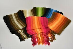 """Vertical Striped Scarf Set 100% Alpaca Knit Peru 3 Pack Wholesale 10""""x70"""" Soft"""