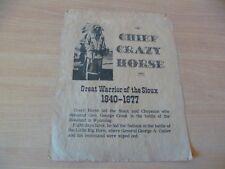 (B38) AFFICHETTE EN PAPIER PARCHEMINE CRAZY HORSE GUERRIER SIOUX USA  28 X 20 CM