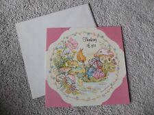 New listing Vintage Greeting Card ~Anne Liese Possum Couple In Leaf Raft Mushroom House & Mo