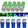 10x Blue Green T10 Wedge 5-SMD 5050 LED Light bulb W5W 2825 158 192 168 License