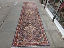Vintage Traditional Hand Made Oriental Blue Red Pink Wool Long Runner 419x108cm