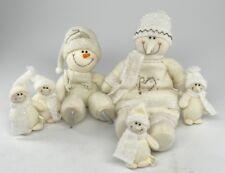 "SET OF 6 SNOWMEN (Snowman) FAMILY ~ PLUSH CHRISTMAS/WINTER/HOLIDAY DECOR 4""-15"""