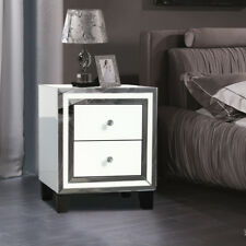 Exquisite High Gloss White Bedside Table Chest Bed Side Cabinet Mirrored 2Drawer