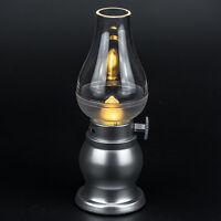 LED-Tischleuchte dimmbar silber 'neue Gasleuchte' Lampion Dekoleuchte