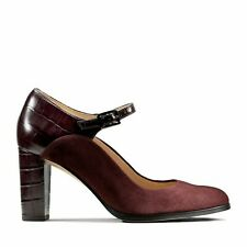 £69 Clarks Genuine Suede Croc Leather Burgundy Red Mary Jane Heels Shoes Size 6