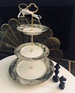 WEDDING CAKE STAND 3 TIER SERVING TRAY MIKASA TRAVERTINE GRAY MARBLE