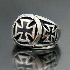 Silver 316L Stainless Steel Masonic Black Knights Templar Iron Cross Men's Ring