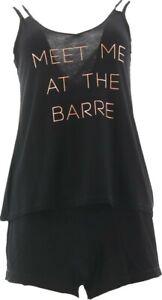 Danskin Meet Me at the Barre Cami Short Set Black L #